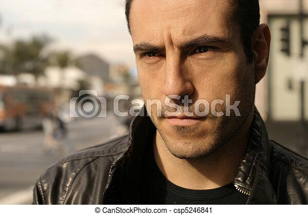 Portrait of masculine male model - csp5246841