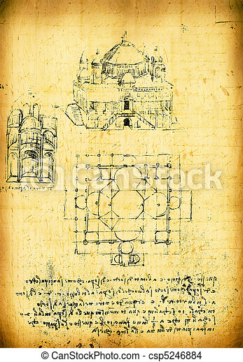 Leonardo's Da Vinci engineering drawing - csp5246884