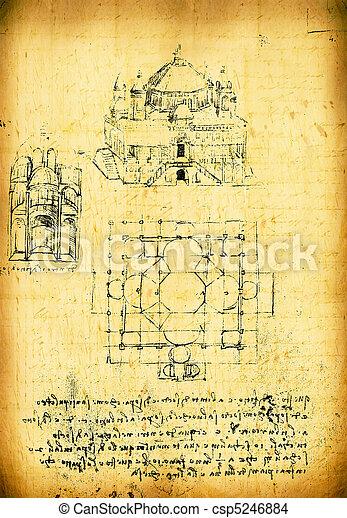 Leonardo's Da Vinci engineering drawing - csp5246884