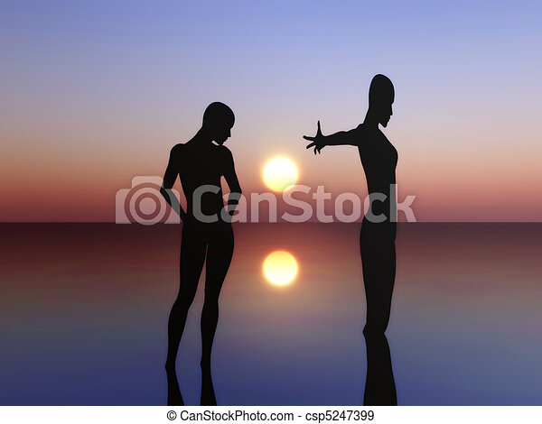 Two people expressing their feeling - csp5247399