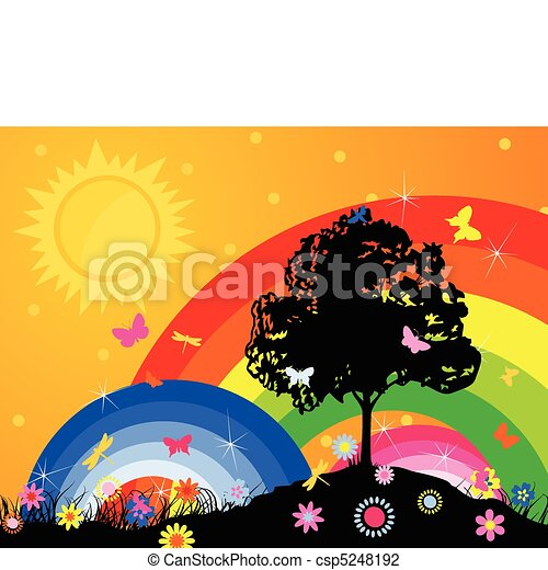 Silhouette of a tree against a rainbow and the bright sky. A vector illustration - csp5248192