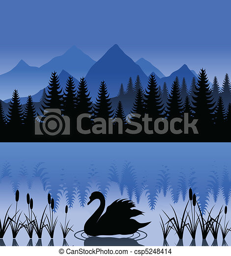 Black swan on mountain lake. A vector illustration - csp5248414