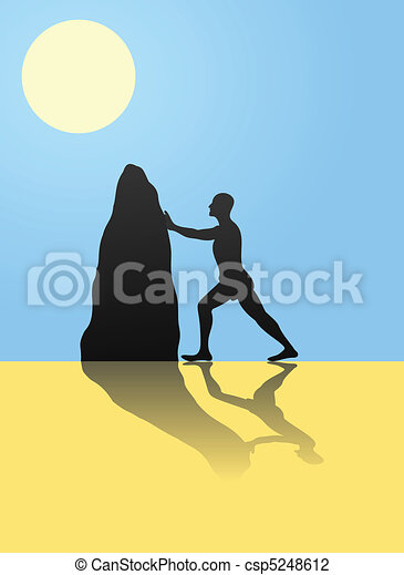 The man moves a stone to deserts. A vector illustration - csp5248612