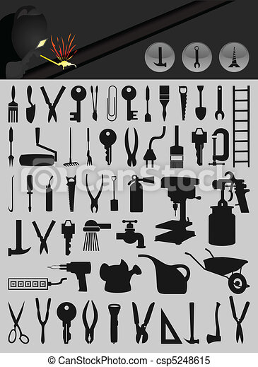 Set of icons on a theme tools. A vector illustration - csp5248615