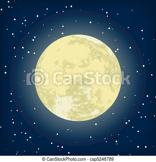 Vector image of moon in the night. EPS 8 - csp5248789