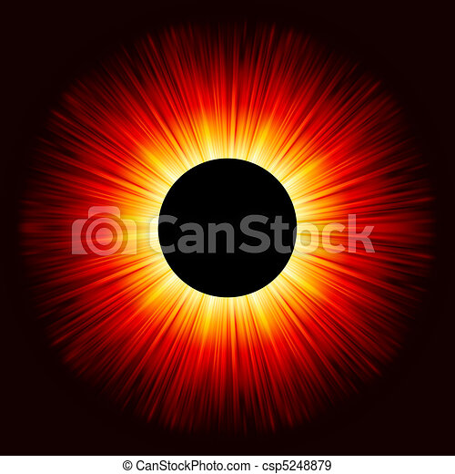Glowing eclipse on a solid black background. EPS 8 - csp5248879