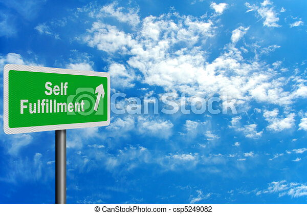 Photo realistic 'route to self fulfillment' sign - csp5249082