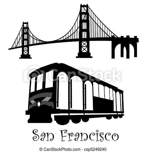 San Francisco Golden Gate Bridge and Cable Car Trolley - csp5249240