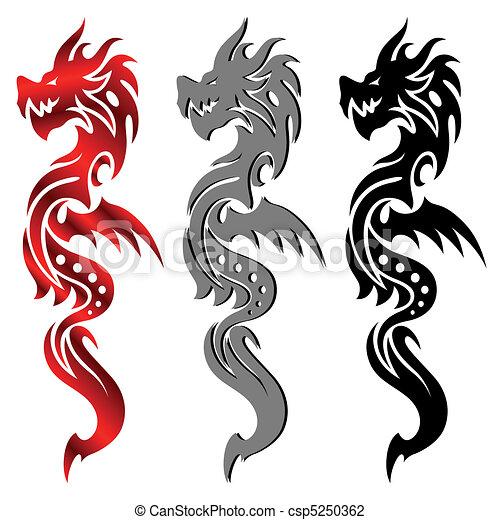Dragon, tribal tattoo - csp5250362