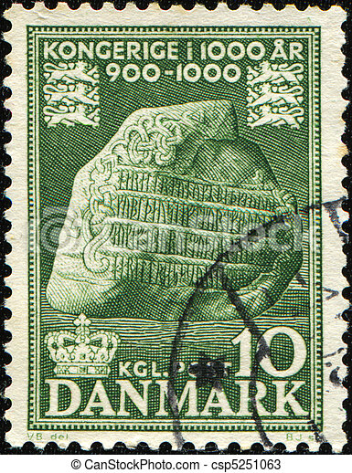 DENMARK - CIRCA 1955: A stamp printed by Denmark occasion of Denmark's existence as a kingdom in 1000 years, circa 1982 - csp5251063