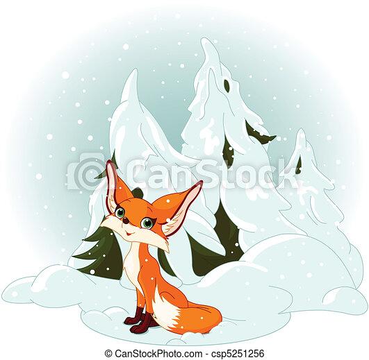 Cute fox against a snowy forest - csp5251256