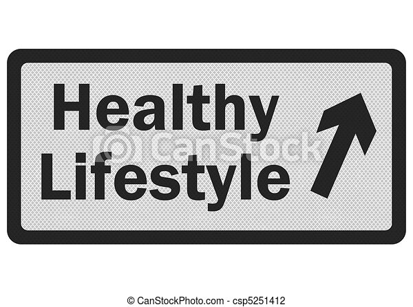 Photo realistic 'healthy lifestyle' sign, isolated on white - csp5251412