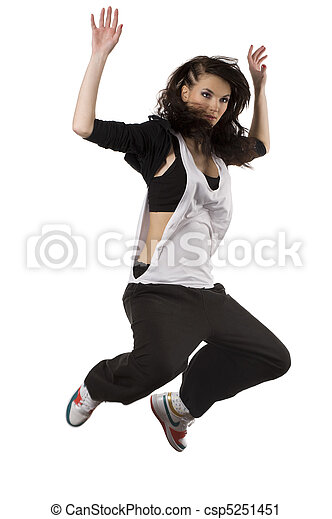 Stock Photography of girl hip hop dancer jumping - modern young ...