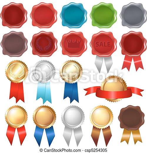 Collection Wax Seal And Award Ribbons - csp5254305