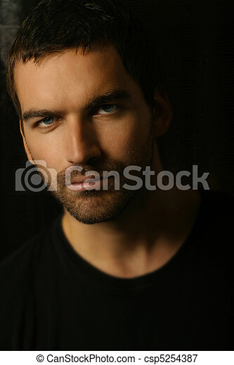 close-up portrait of handsome man   - csp5254387