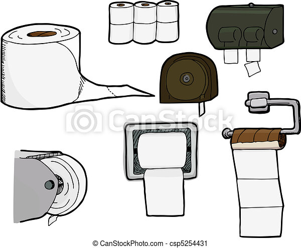 Toilet Paper Rolls and Dispensers - csp5254431