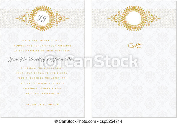 Vector Gold Frame Set with Sample Text - csp5254714
