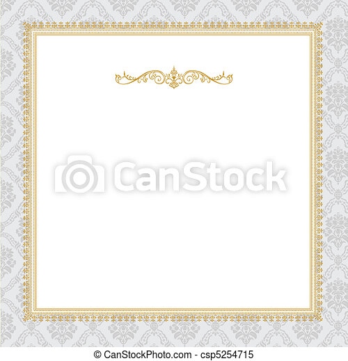 Vector Ornate Complex Gold Frame - csp5254715