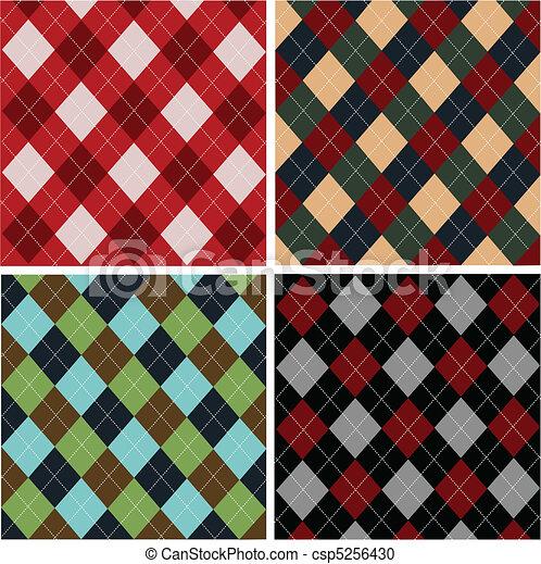 Set of plaid patterns, cottons - csp5256430