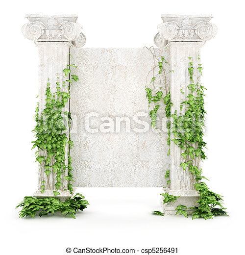 vertical antiquity billboard covered with ivy - csp5256491