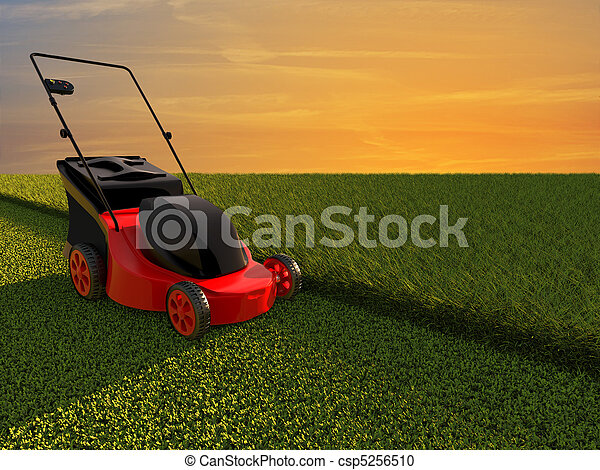 Lawn mower on green field - csp5256510