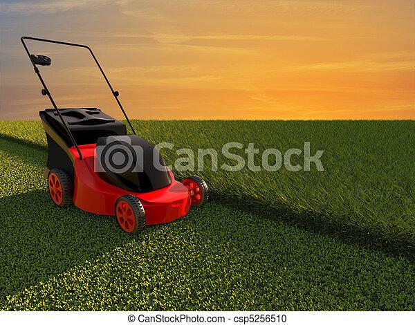 Lawn mower on green field - csp5256510
