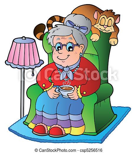 fauteuil, grand-maman, dessin animé, séance - csp5256516