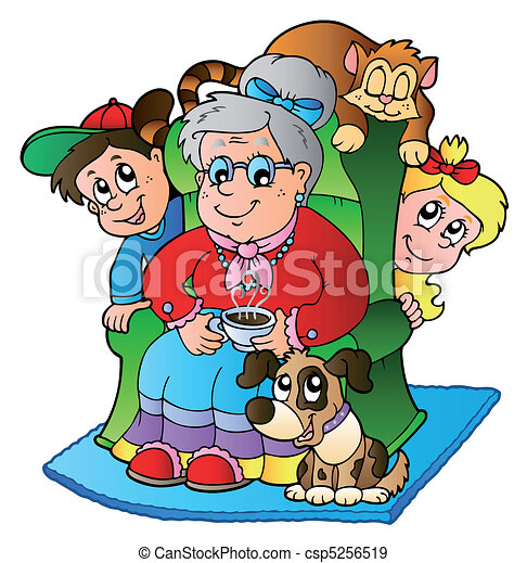 Cartoon grandma with two kids - csp5256519