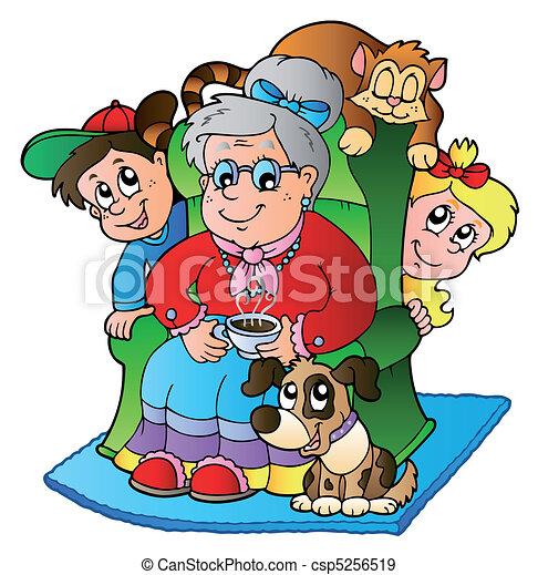 Cartoon grandma with two kids - csp5256519