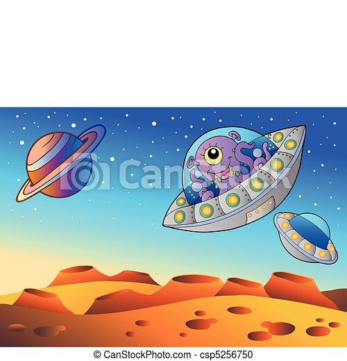 Red planet with flying saucers - csp5256750