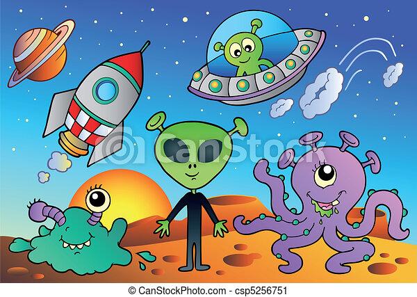 Various alien and space cartoons - csp5256751