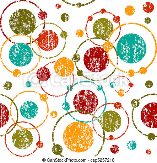Grunge retro background with circles and dots - csp5257216