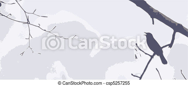 Singing Bird Banner - csp5257255