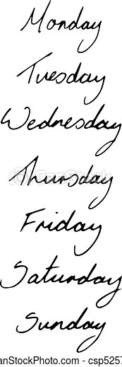 Hand Written Days of the Week - csp5257260
