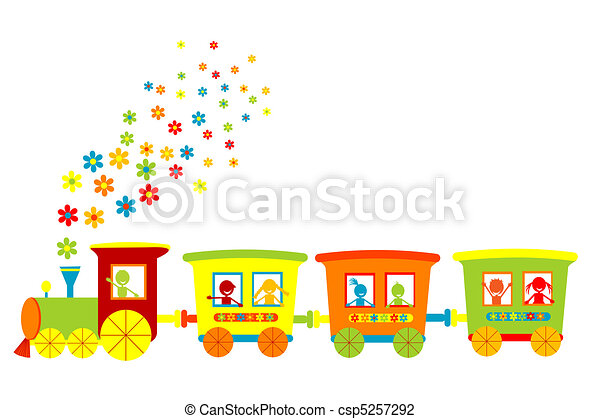Toy train with happy kids - csp5257292