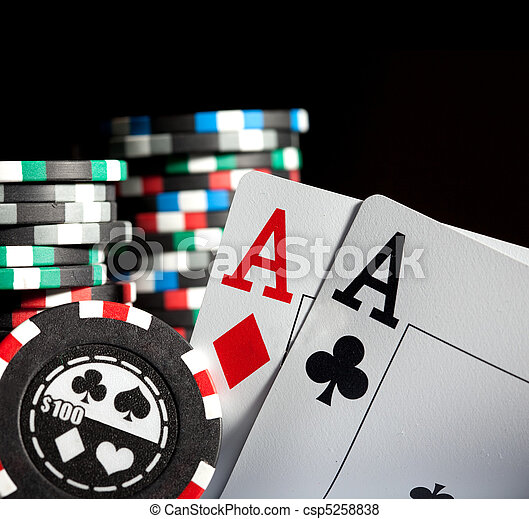 gambling chips and aces - csp5258838