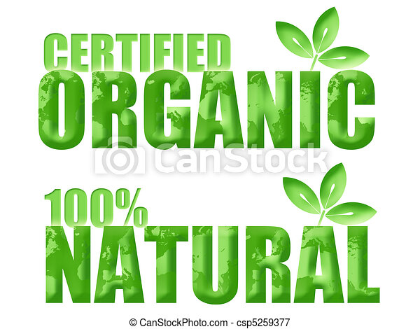 Certified Organic and Natural Symbols - csp5259377
