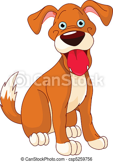 Clip Art Vector of Cute smiling dog - Illustration of a ...