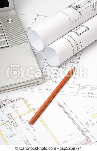 blåkopior, arkitektur - csp5259771