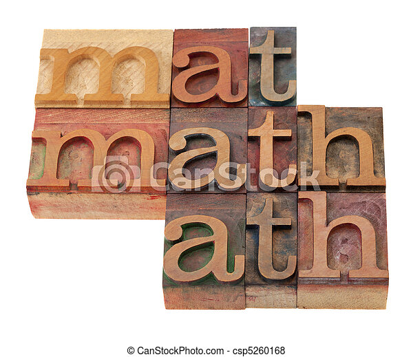 math word abstract in letterpress type - csp5260168