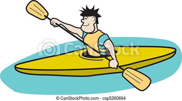 Kayaker Paddling In Boat Clip Art - csp5260664