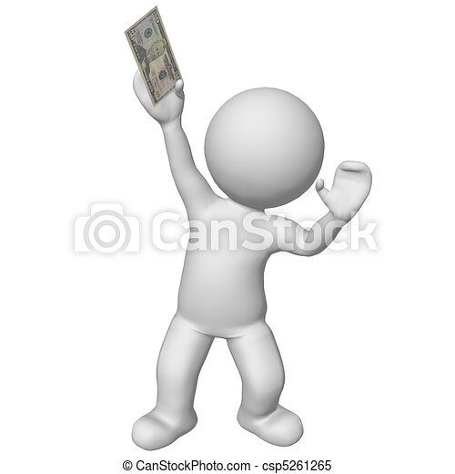 3d character holding 50 dollar bill - csp5261265