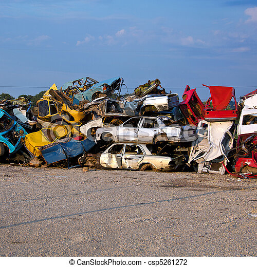 Junk Cars On Junkyard - csp5261272