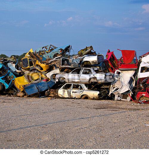 Junk Cars On Junkyard - csp5261272