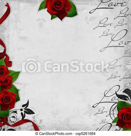 zeichnung von liebe romantische weinlese 1 rosen hintergrund text csp5261684 suchen. Black Bedroom Furniture Sets. Home Design Ideas