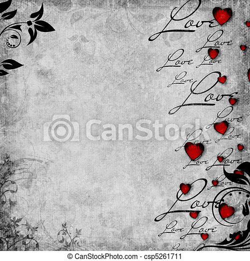 Romantic  vintage background with red hearts and text love (1 of set) - csp5261711