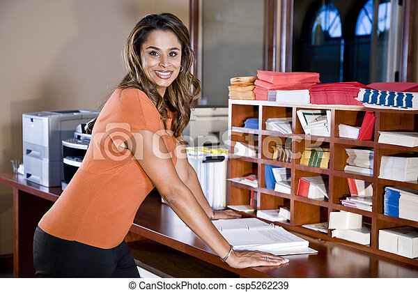 Female office worker, Indian ethnicity - csp5262239