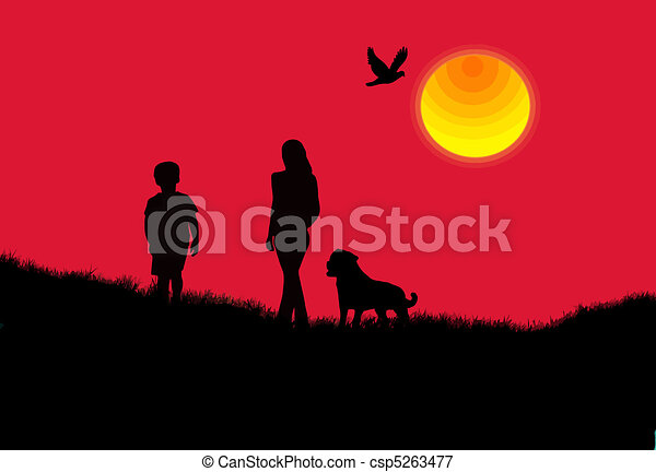 Mother, son and the dog background - csp5263477