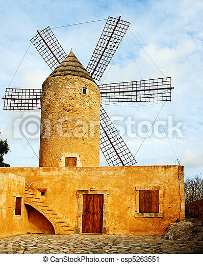 typical windmill in Mallorca, Balearic Islands, Spain - csp5263551