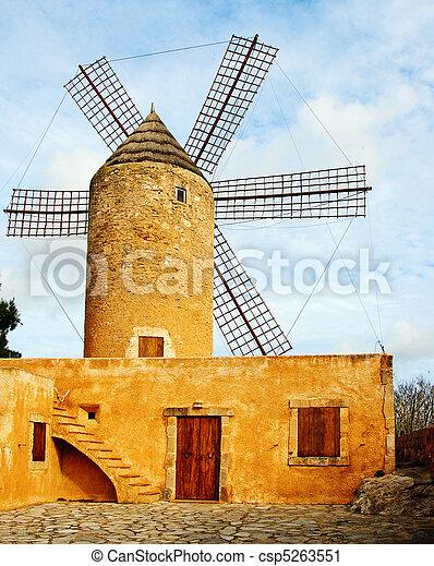 typical windmill in Mallorca, Balearic Islands, Spain - csp5263551